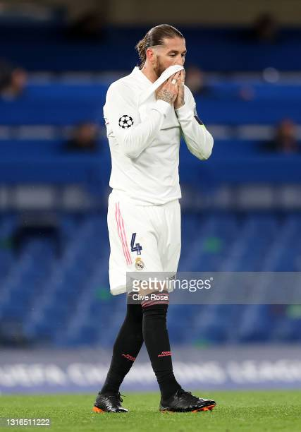 Sergio Ramos of Real Madrid looks dejected after conceding their second goal during the UEFA Champions League Semi Final Second Leg match between...