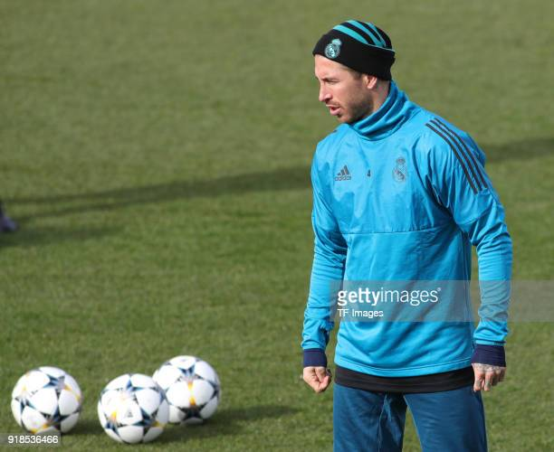 Sergio Ramos of Real Madrid looks on during a training session at Valdebebas training ground ahead their Round of 16 first leg UEFA Champions League...