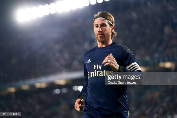 Sergio Ramos of Real Madrid looks on during the La Liga match between Real Betis Balompie and Real Madrid CF at Estadio Benito Villamarin on March 08...