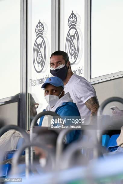 Sergio Ramos of Real Madrid looks on during the La Liga Santander match between Real Madrid and Valencia CF at Estadio Alfredo Di Stafano on February...