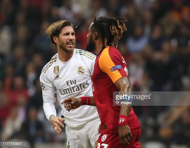 Sergio Ramos of Real Madrid looks on during the UEFA Champions League group A match between Galatasaray and Real Madrid at Turk Telekom Arena on...