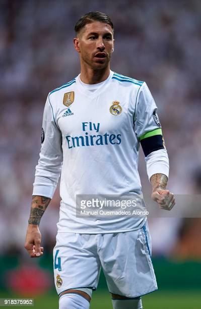Sergio Ramos of Real Madrid looks on during the UEFA Champions League Round of 16 First Leg match between Real Madrid and Paris SaintGermain at...