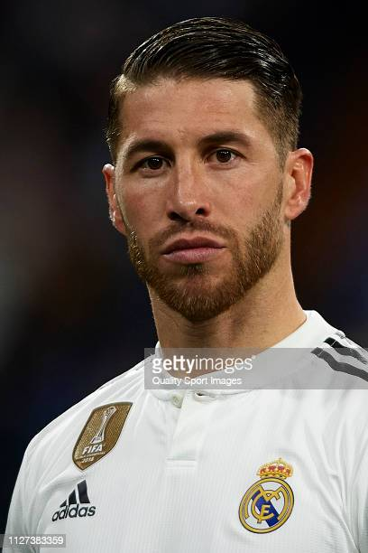 Sergio Ramos of Real Madrid looks on prior to the La Liga match between Real Madrid CF and Deportivo Alaves at Estadio Santiago Bernabeu on February...