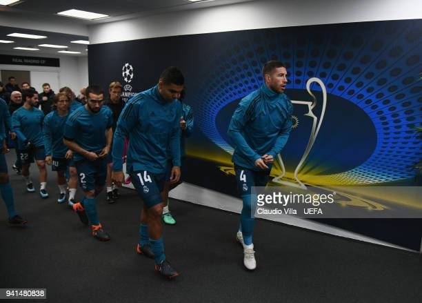 Sergio Ramos of Real Madrid looks on prior to the UEFA Champions Quarter Final Leg One match between Juventus and Real Madrid at Allianz Stadium on...