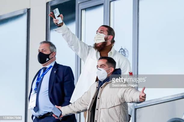 Sergio Ramos of Real Madrid, Lucas Vazquez of Real Madrid during the La Liga Santander match between Real Madrid v Levante at the Santiago Bernabeu...