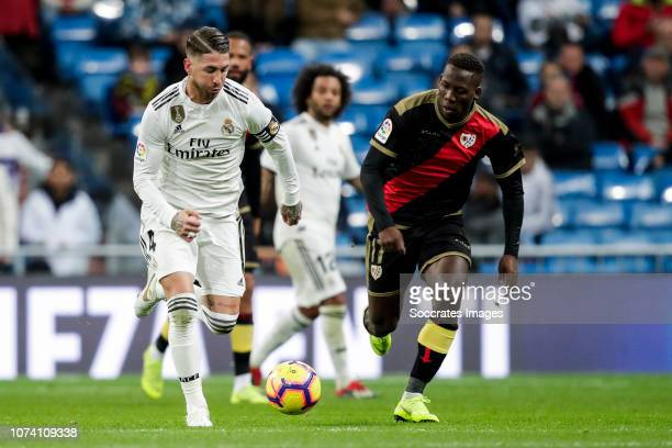 Sergio Ramos of Real Madrid Marcelo of Real Madrid Luis Advincula of Rayo Vallecano during the La Liga Santander match between Real Madrid v Rayo...