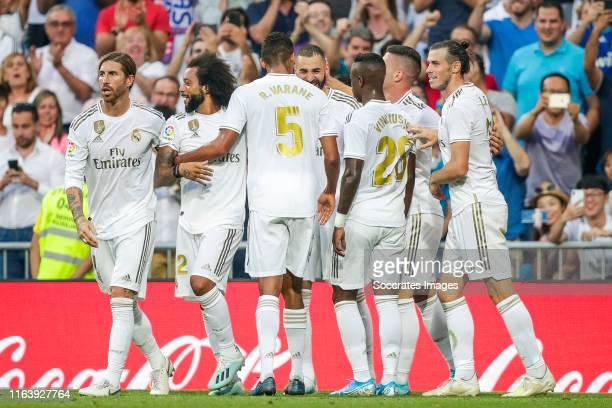 Sergio Ramos of Real Madrid Marcelo of Real Madrid Raphael Varane of Real Madrid Karim Benzema of Real Madrid Vinicius Junior of Real Madrid Jovic of...