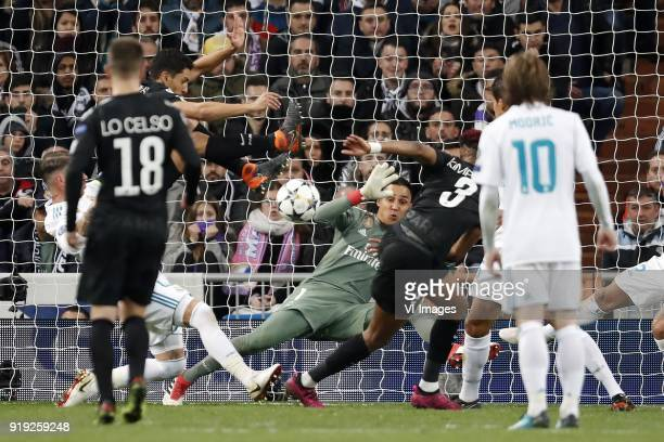 Sergio Ramos of Real Madrid Marquinhos of Paris SaintGermain Giovani Lo Celso of Paris SaintGermain goalkeeper Keylor Navas of Real Madrid Presnel...