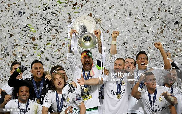 Sergio Ramos of Real Madrid of Real Madrid lifts the Champions League trophy after the UEFA Champions League Final match between Real Madrid and Club...