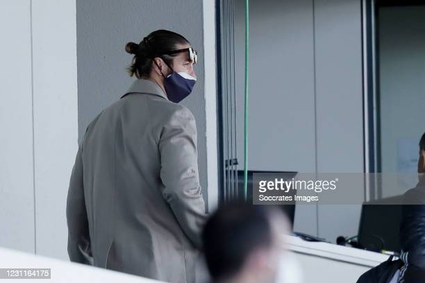 Sergio Ramos of Real Madrid on the stand during the La Liga Santander match between Real Madrid v Valencia at the Estadio Alfredo Di Stefano on...