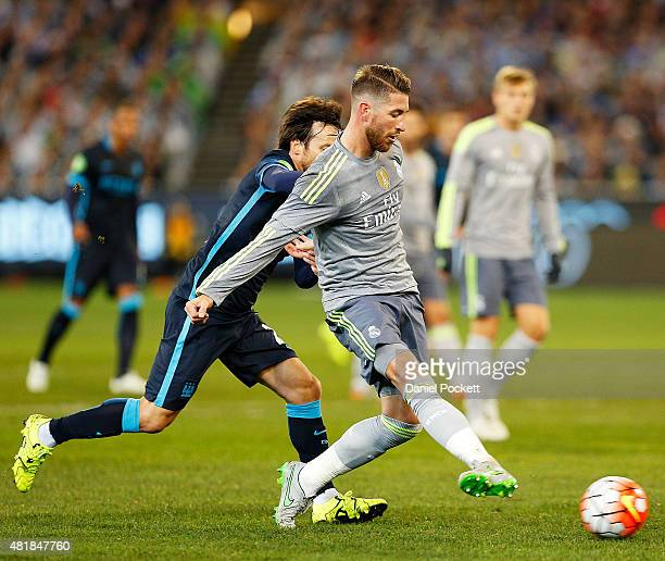 Sergio Ramos of Real Madrid passes during the International Champions Cup match between Real Madrid and Manchester City at Melbourne Cricket Ground...