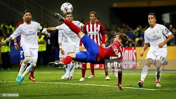 Sergio ramos of Real madrid Pepe of Real Madrid Antoine Griezmann of Atletico Madrid Fernando Torres of Atletico Madrid Lucas Vasquez of Real Madrid...
