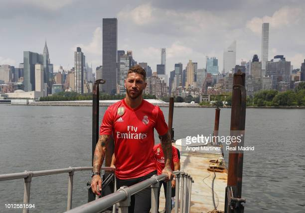 1712e5ba5 Sergio Ramos of Real Madrid poses during the new third kit launch on August  6 2018. Real Madrid Unveil Their ...