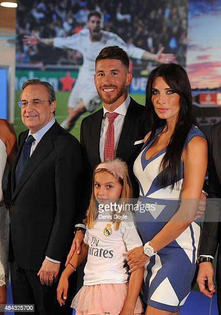 Sergio Ramos of Real Madrid poses for a portrait along with his wife Pilar Rubio Real president Florentino Perez and Sergio's niece Daniela Ramos...