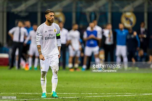 Sergio Ramos of Real Madrid prepares to take a penalty during the UEFA Champions League Final between Real Madrid and Atletico Madrid at Stadio...