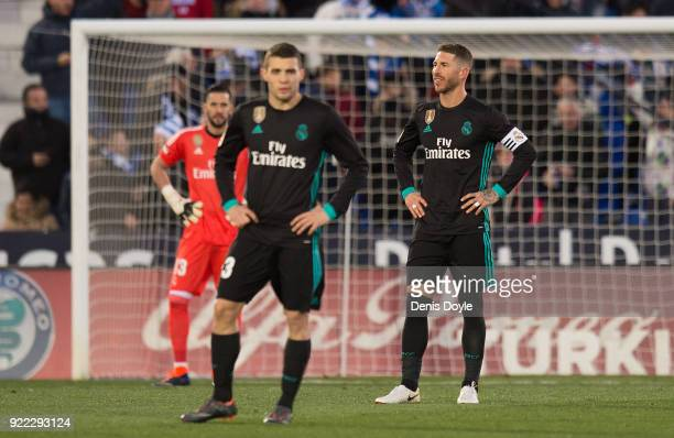 Sergio Ramos of Real Madrid reacts after Legenes scores their opening goal during the La Liga match between Leganes and Real Madrid at Estadio...
