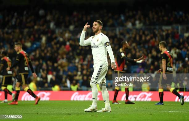 Sergio Ramos of Real Madrid reacts after scoring a goal which is disallowed during the La Liga match between Real Madrid CF and Rayo Vallecano de...