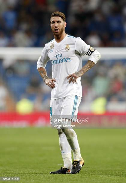 Sergio Ramos of Real Madrid reacts after the La Liga match between Real Madrid and Real Betis at Estadio Santiago Bernabeu on September 20 2017 in...