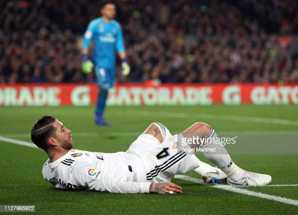 Sergio Ramos of Real Madrid reacts during the Copa del Rey Semi Final match between FC Barcelona and Real Madrid at Nou Camp on February 06 2019 in...