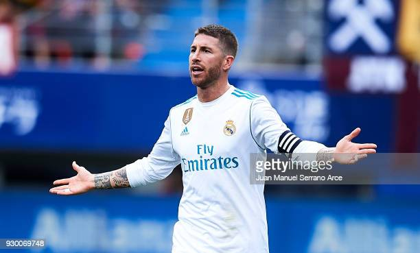 Sergio Ramos of Real Madrid reacts during the La Liga match between SD Eibar and Real Madrid at Ipurua Municipal Stadium on March 10 2018 in Eibar...