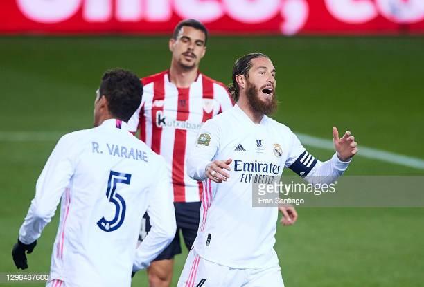 Sergio Ramos of Real Madrid reacts during the Supercopa de Espana Semi Final match between Real Madrid and Athletic Club at Estadio La Rosaleda on...