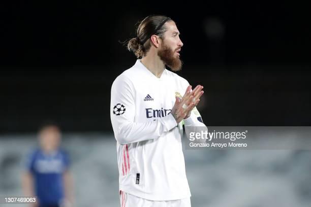 Sergio Ramos of Real Madrid reacts during the UEFA Champions League Round of 16 match between Real Madrid and Atalanta at Estadio Alfredo Di Stefano...