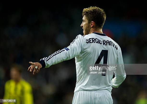Sergio Ramos of Real Madrid reacts during the UEFA Champions League group D match between Real Madrid and Borussia Dortmund at Estadio Santiago...