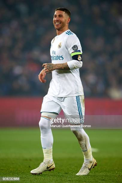 Sergio Ramos of Real Madrid reacts during the UEFA Champions League Round of 16 Second Leg match between Paris SaintGermain and Real Madrid at Parc...