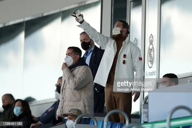 Sergio Ramos of Real Madrid reacts watching from the stands during the La Liga Santander match between Real Madrid and Levante UD at Estadio Alfredo...