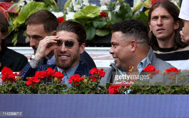 Sergio Ramos of Real Madrid Ronaldo de Lima of Brazil attend the victory of Rafael Nadal of Spain against Felix AugerAliassime of Canada on day 5 of...