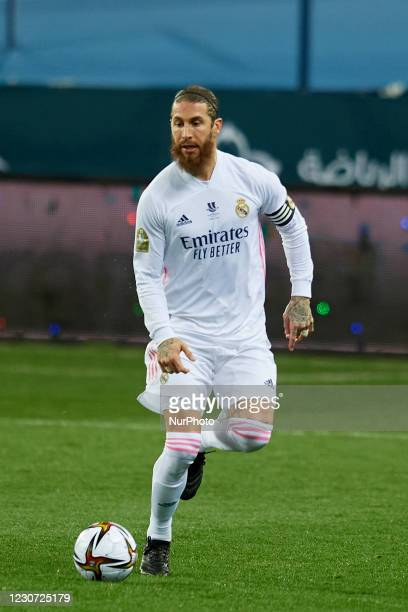 Sergio Ramos of Real Madrid runs with the ball during the Supercopa de Espana Semi Final match between Real Madrid and Athletic Club at Estadio La...