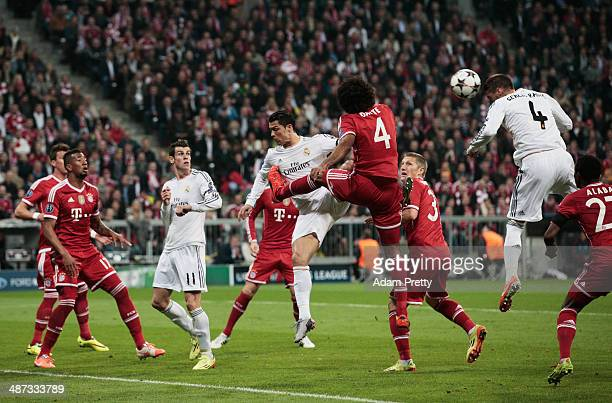 Sergio Ramos of Real Madrid score the first goall during the UEFA Champions League semifinal second leg match between FC Bayern Muenchen and Real...