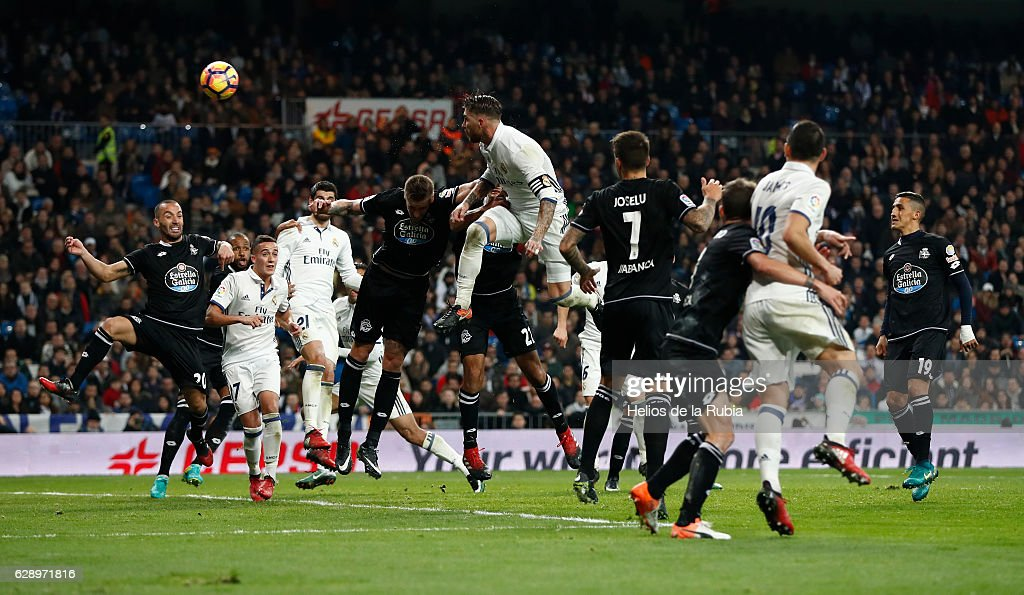 Sergio Ramos of Real Madrid score the goal during the La Liga match between Real Madrid CF and RC Deportivo La Coruna on December 10, 2016 in Madrid, Spain.