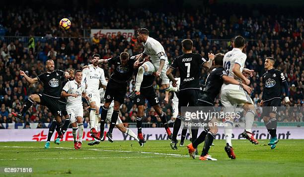 Sergio Ramos of Real Madrid score the goal during the La Liga match between Real Madrid CF and RC Deportivo La Coruna on December 10 2016 in Madrid...