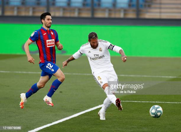 Sergio Ramos of Real Madrid scores a goal during the Liga match between Real Madrid CF and SD Eibar SAD at Estadio Alfredo Di Stefano on June 14,...