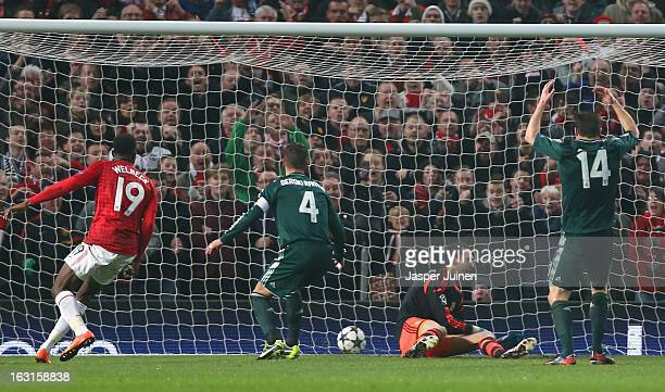 Sergio Ramos of Real Madrid scores an own goal during the UEFA Champions League Round of 16 Second leg match between Manchester United and Real...