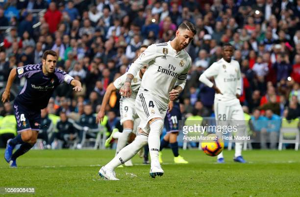 Sergio Ramos of Real Madrid scores from penalty spot his team's second goal during the La Liga match between Real Madrid CF and Real Valladolid CF at...