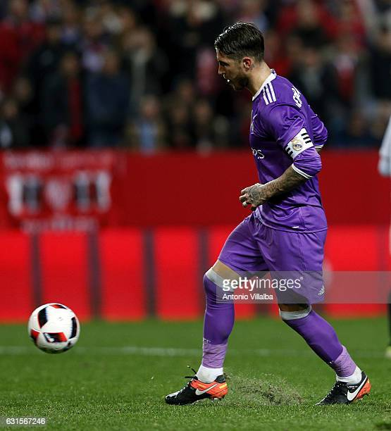 Sergio Ramos of Real Madrid scores his goal during the Copa del Rey round of 16 second leg match between Sevilla and Real Madrid CF at Estadio Ramon...