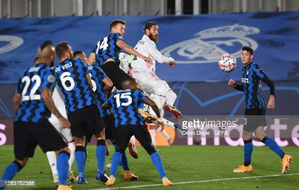 Sergio Ramos of Real Madrid scores his sides second goal during the UEFA Champions League Group B stage match between Real Madrid and FC...