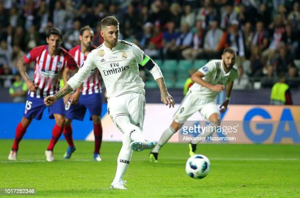Sergio Ramos of Real Madrid scores his team's second goal during the UEFA Super Cup between Real Madrid and Atletico Madrid at Lillekula Stadium on...