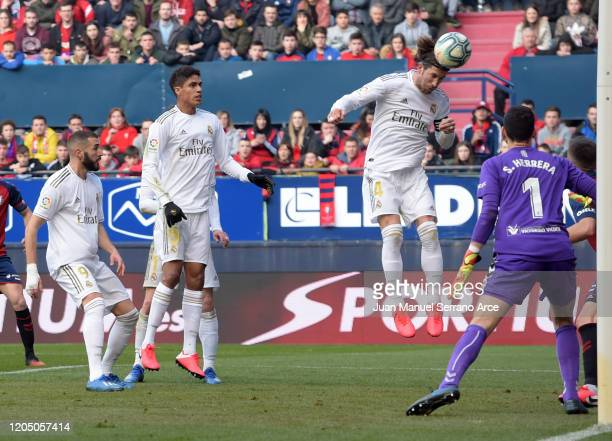 Sergio Ramos of Real Madrid scores his team's second goal during the La Liga match between CA Osasuna and Real Madrid CF at El Sadar Stadium on...