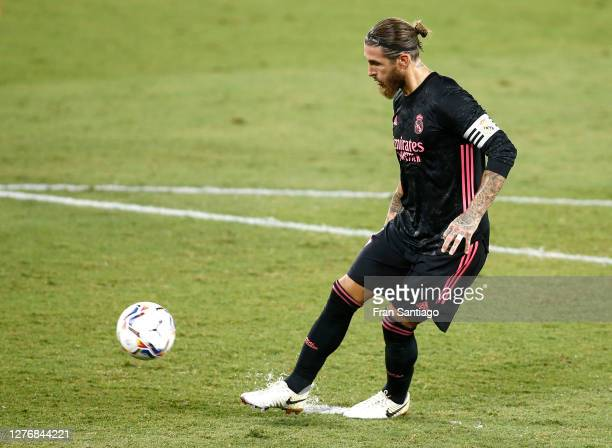 Sergio Ramos of Real Madrid scores his team's third goal from the penalty spot during the La Liga Santander match between Real Betis and Real Madrid...