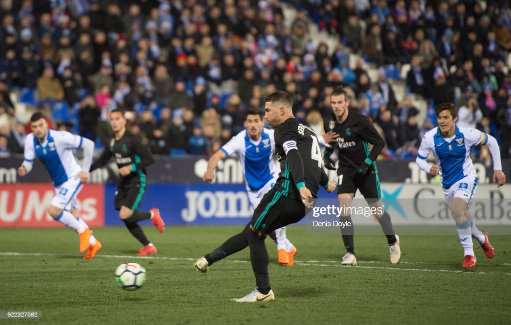 Sergio Ramos of Real Madrid scores Real's third goal from the penalty spot during the La Liga match between Leganes and Real Madrid at Estadio Municipal de Butarque on February 21, 2018 in Leganes, Spain.