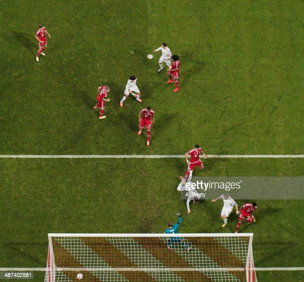 Sergio Ramos of Real Madrid scores the second goal during the UEFA Champions League semifinal second leg match between FC Bayern Muenchen and Real...