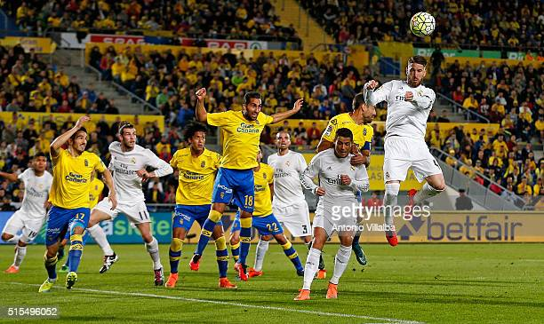 Sergio Ramos of Real Madrid Scoring his goal during the La Liga match between UD Las Palmas and Real Madrid CF at Estadio de Gran Canaria on March 13...