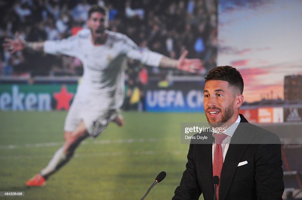 Sergio Ramos of Real Madrid smiles during a press conference to announce his new five-year contract with Real Madrid at the Santiago Bernabeu stadium on August 17, 2015 in Madrid, Spain.