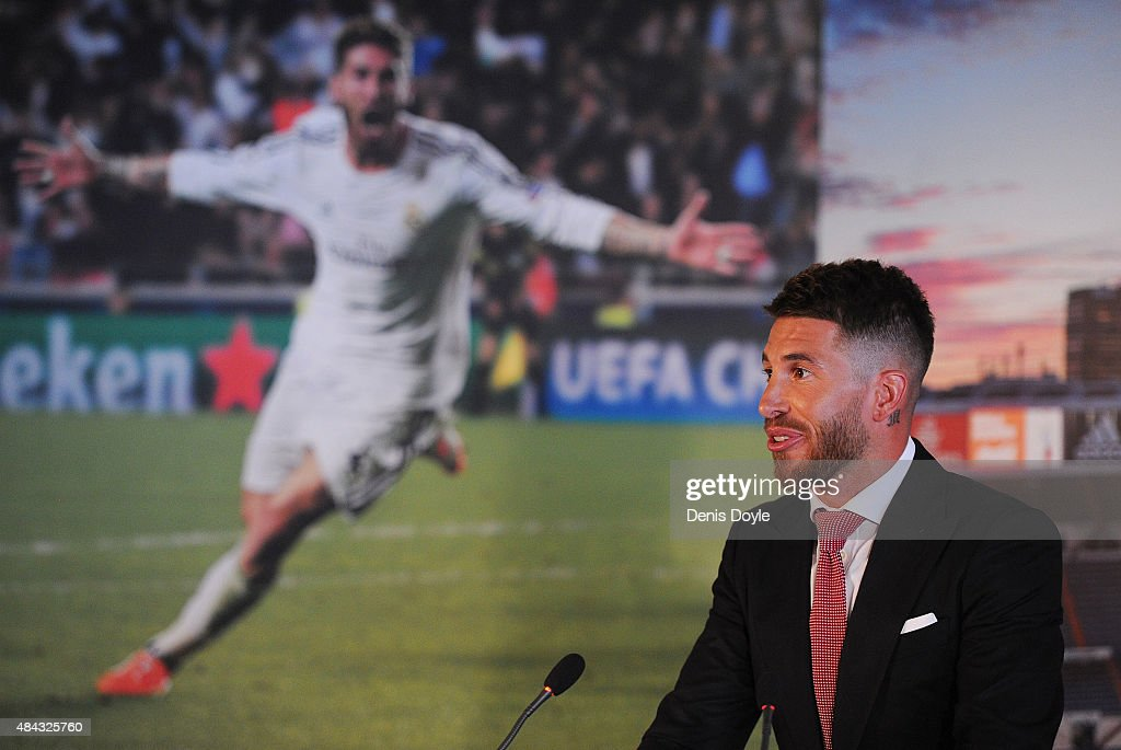 Sergio Ramos of Real Madrid speaks during a press conference to announce his new five-year contract with Real Madrid at the Santiago Bernabeu stadium on August 17, 2015 in Madrid, Spain.