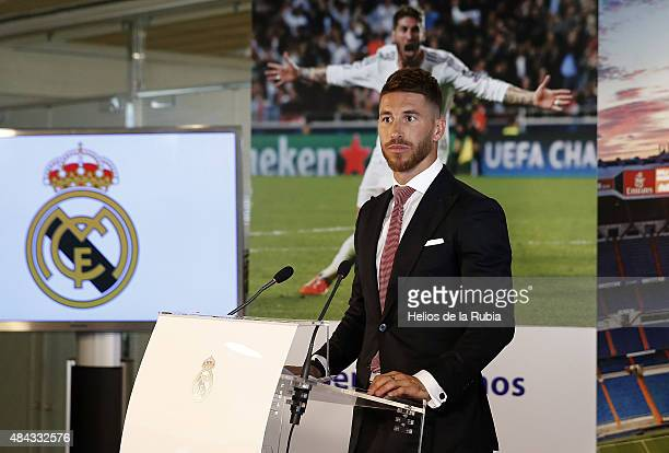 Sergio Ramos of Real Madrid speaks during a press conference to announce Ramos' new fiveyear contract with Real Madrid at the Santiago Bernabeu...