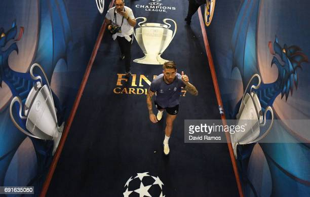 Sergio Ramos of Real Madrid walks down the tunnel after a Real Madrid training session prior to the UEFA Champions League Final between Juventus and...