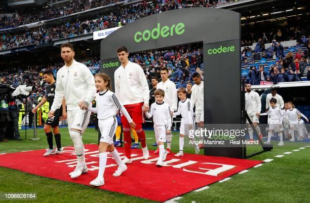 Sergio Ramos of Real Madrid walks onto the pith prior to the La Liga match between Real Madrid CF and Sevilla FC at Estadio Santiago Bernabeu on...